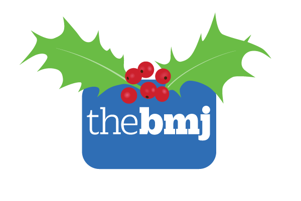 The BMJ logo with holly leaves and berries on top