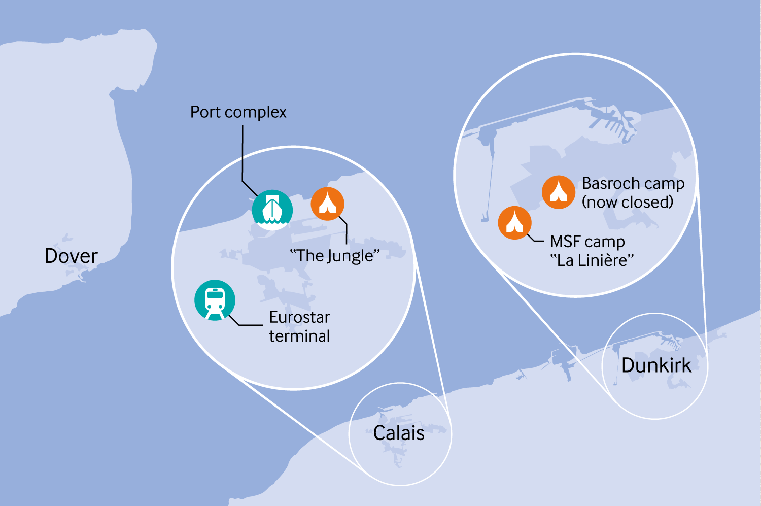 map of migrant camps in Calais and Dunkirk